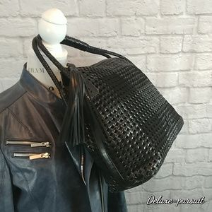 Tory Burch Taylor Woven leather hobo bag fringe